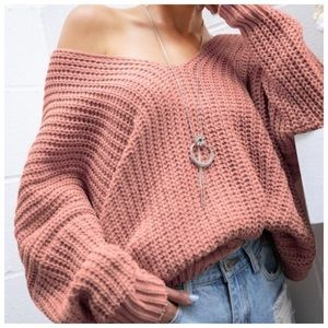 Sweaters - NWT Slouchy Red Bean Chenille Sweater